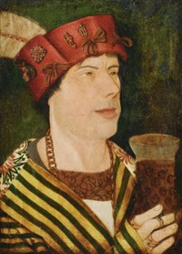 portrait of narr pock, jester at the court of the emperor maximilian i, head and shoulders, dressed as a fool, holding a beaker by austrian school-tyrolean (16)