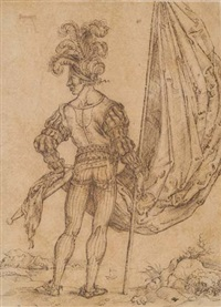 a standard-bearer seen from behind by hans (suess von) kulmbach