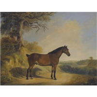 a pony in a landscape by william barraud
