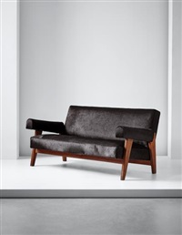 sofa, model no. lc/pj-si-42-a/b, designed for the high court and assembly, chandigarh by le corbusier and pierre jeanneret
