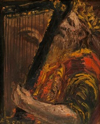 king david playing the harp by yitzhak frenkel-frenel