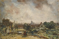 view of the city of london from sir richard steele's cottage, hampstead by john constable