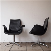 2 fauteuils visiteurs (set of 2) by jorgen kastholm and preben fabricius