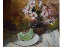 still life with melon, trumpet flowers and fruit by irmin henkel