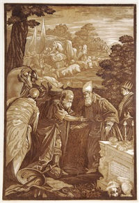 the descent of the holy spirit (after titian) (2 works) by john baptist jackson