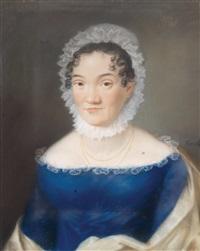 bildnis einer dame in kobaltblauem kleid by johann lorenz kreul