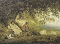 shepherds resting under a tree by george morland