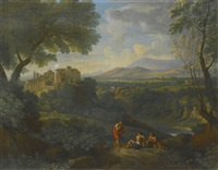 classical landscape with a distant view of a town and a waterfall with three figures conversing on a path by jan frans van bloemen