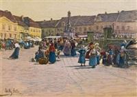 reges treiben am marktplatz by johann nepomuk geller