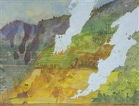 study, fires on a hillside, java by leonard rosoman
