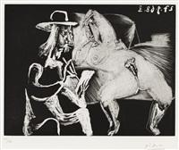 homme au chapeau dessinant a cote d'une femme offerte (from series 347) by pablo picasso