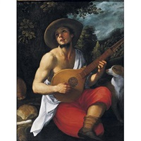 a youth playing a guitar by astolfo petrazzi