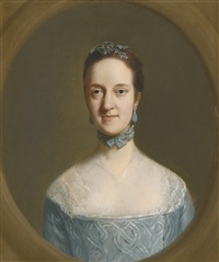 portrait of mrs elizabeth edgar, half-length, wearing a blue dress by thomas gainsborough