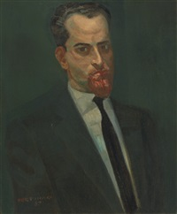portrait of dr. leonardo altuve carrillo (homen de barba vermelha) by candido portinari