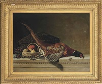 pheasant, grapes, apple and lemon on a stone ledge by eliot thomas yorke