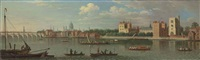 view across the river thames to lambeth, with westminster bridge and st. paul's cathedral beyond by samuel scott