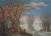 a winter landscape with the flight into egypt by denis van alsloot