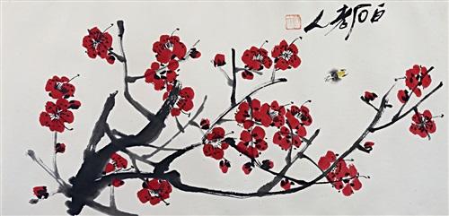 梅花图 blossoming plum tree and bee by qi baishi