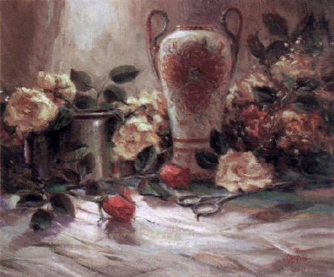 yellow roses in vase by julie ford oliver