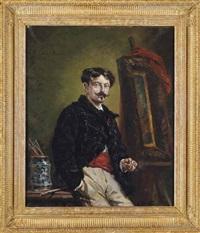 autoportrait dans l'atelier by alphonse marie de neuville