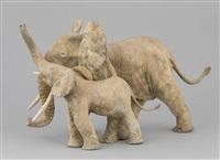 dis-moi, dis-moi (éléphante et son éléphanteau) by françois van den berghe