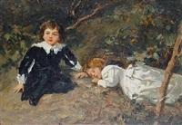 children resting in a wood by salvatore postiglione
