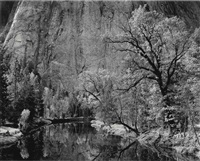 river and cliffs, autumn, yosemite valley, 1939 by ansel adams