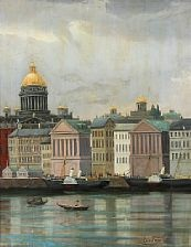 view from st. petersburg at the neva river overlooking the isaac cathedral by edvard skari