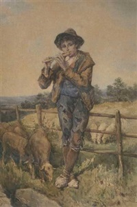 young shepherd playing flute by daniele bucciarelli