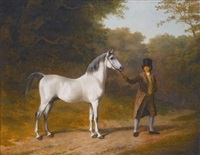 the wellesley arabian, held by a groom in a landscape by jacques-laurent agasse