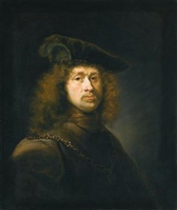 portrait of a man, head and shoulders, wearing a cap and chain by johann spilberg the younger