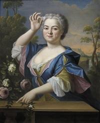 retrato de dama con jazmines y rosas by pierre gobert