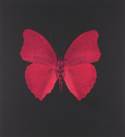 unique red butterfly by damien hirst