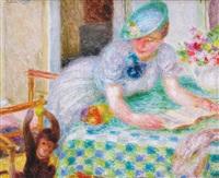 femme au singe by mieszko (mieczyslaw) jablonski