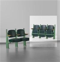row of three lecture theatre chairs with adjustable seats, designed for the faculté des lettres, université de besançon by jean prouvé