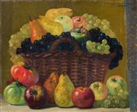 cesto con uvas, peras y manzanas by hermenegildo anglada camarasa