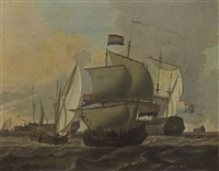 merchantmen, a kaag and other sailing vessels in a stiff breeze by adam silo