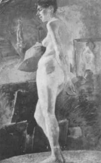 model posing in studio by wilton robert lockwood