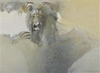 lion hunting zebra by keith joubert