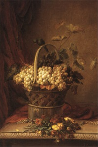 still life with grapes in a basket by jean baptiste (joannes) cornillon
