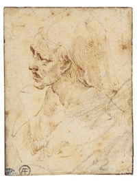head of an elderly woman wearing a wimple by parmigianino