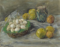 stilleben mit eiern und zitrusfrüchten by max slevogt