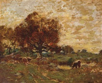 cattle in an autumn landscape by louis paul dessar