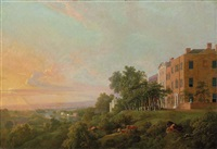 a view of the thames from the queen's terrace, richmond hill, london by george barret
