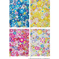 1. an homage to ikb 1957 d / 2. an homage to monogold 1960 d / 3. an homage to monopink 1960 d / 4. an homage to yves klein, multicolor d (3 works) by takashi murakami