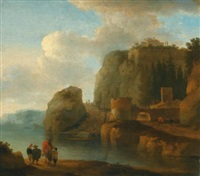 a rocky river landscape with travellers in the foreground and ships beyond by jan asselijn