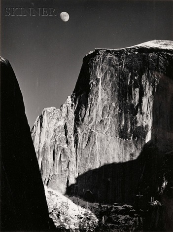 moon over half dome yosemite national park by ansel adams