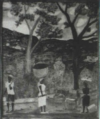 figures and animals in a landscape by sénèque obin