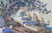jeune algérienne sur une terrasse, a young algirian woman on a terrace by jan baptist huysmans