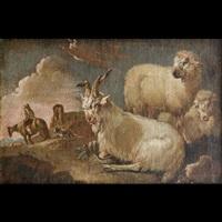 armenti con cavaliere e rovine romane by philipp peter roos